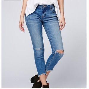 Free People Frayed Hem Destroyed Ankle Jeans Sz 25